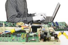 计算机诊断 在计算机上的工作 库存图片