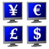 计算机货币监控程序符号 皇族释放例证