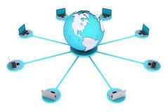 计算机连接的概念在世界范围内 库存图片