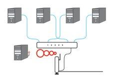 计算机部分绘制的网络 免版税库存图片
