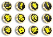 计算机金黄图标集合万维网 免版税库存照片