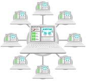 计算机链接了webinar的网络 免版税图库摄影
