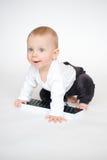 计算机键盘的婴孩 库存照片