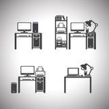 计算机集合和桌 设计 图库摄影