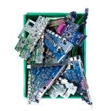 计算机零件准备好回收在白色背景 免版税库存照片