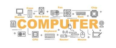 计算机零件传染媒介横幅 库存图片