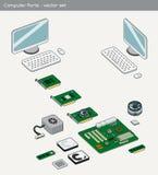 计算机零件-传染媒介 库存例证