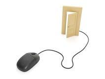 计算机鼠标和门 库存图片