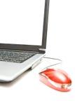 计算机鼠标笔记本银 库存照片