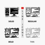 计算机,桌面,硬件,工作站,在稀薄,规则,大胆的线和纵的沟纹样式的系统象 r 库存例证