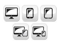 计算机,片剂,被设置的智能手机按钮 免版税图库摄影
