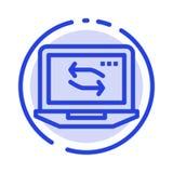 计算机,网络,膝上型计算机,硬件蓝色虚线线象 皇族释放例证