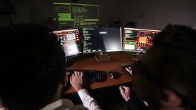 计算机黑客合作运作的设法对计算机系统能够存取 在视图之上 股票视频