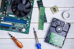 计算机主板、计算机零件、硬盘、Ram和equipme 库存照片