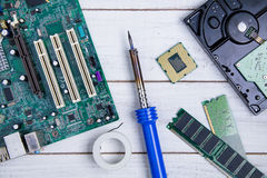 计算机主板、计算机零件、硬盘、Ram和equipme 库存图片