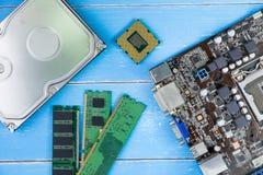 计算机主板、计算机零件、硬盘、Ram和equipme 免版税库存图片