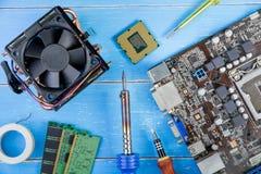 计算机主板、计算机零件、硬盘、Ram和equipme 图库摄影