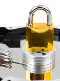 计算机harddrive锁定 免版税库存照片