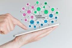 计算的云彩和移动计算机处理技术概念 拿着片剂或巧妙的电话的手 库存图片