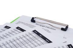 计算datas fo抵押付款计划 库存图片