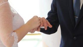 订婚了的新娘和新郎 股票视频