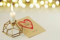 订婚在卡片的钻戒永远说 库存图片