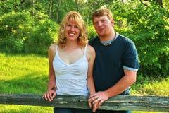订婚照片微笑 免版税库存照片