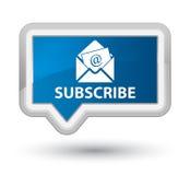 订阅(时事通讯电子邮件象)最初蓝色横幅按钮 库存图片