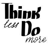 认为做更多:激动人心的词组,运作的心情的行情 刷子书法,手字法 免版税图库摄影