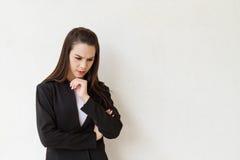 认为充满消极心情的女性商业主管 图库摄影