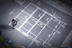 认为在他的计划的人工程师 混合画法 图库摄影