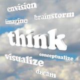 认为在天空的词-想象新的想法和梦想 免版税库存图片
