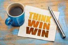 认为在餐巾的双赢的概念 免版税图库摄影