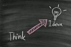 认为想法和电灯泡 免版税库存照片