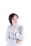 认为某事的亚裔妇女 免版税库存照片