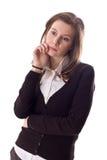 认为的妇女年轻人 免版税图库摄影