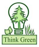 认为绿色概念图标 免版税库存照片