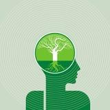认为绿色救球地球树和人脑 免版税库存图片