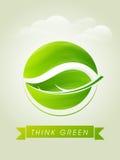 认为绿色模板、横幅或者飞行物设计 库存图片