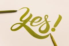 认同诱导词组手写与绿色标志 库存图片