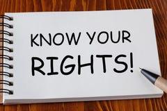 认识您的权利 库存照片