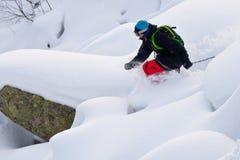 讨便宜者的西伯利亚滑雪 免版税库存图片