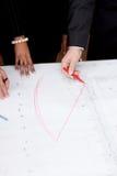 讨论的商人结构计划草图 库存图片