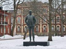 让・西贝柳斯雕象在海门林纳,芬兰 图库摄影