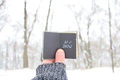 让它下雪,供以人员拿着与题字的一本书 库存图片