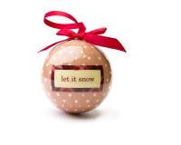 让它下雪,圆点在纯净的白色隔绝的圣诞节中看不中用的物品 库存照片