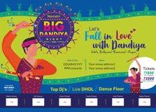 让我们爱上大dandiya夜印刷品广告模板 皇族释放例证