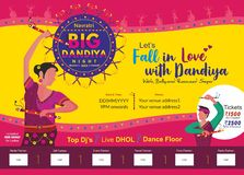 让我们爱上dandiya 一块大打击dandiya夜印刷品模板 皇族释放例证