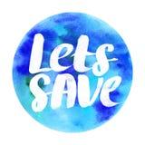 让救球/地球水彩徽章摘要水彩圆的设计 免版税库存照片