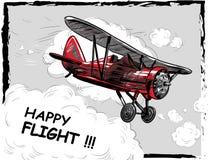 让旅行概念传染媒介例证 减速火箭的飞机海报 老式样飞机在天空明信片飞行 图库摄影